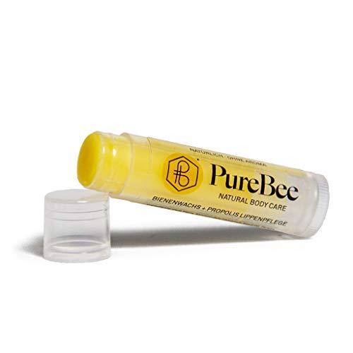 Lippenbalsam mit Bienenwachs & Propolis Ohne Aroma | Natürliche Lippenpflege handgemacht in Baden-Württemberg | Mit Jojoba-, Avocado- & Aprikosenkernöl | PureBee (Ohne Aroma, 1 Stift)