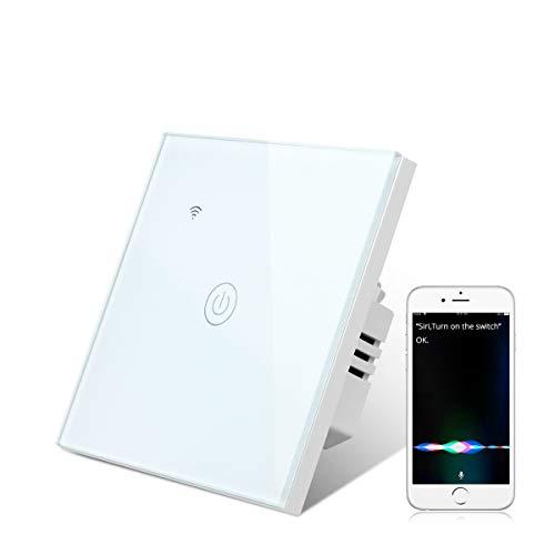 Smart Homekit Lichtschalter, AIMENGTE Gehärtetes Glas WIFI Touch Schalter Kompatibel mit Homekit & Siri, Fern- & Sprachsteuerung, Timing-Funktion, kein Hub erforderlich