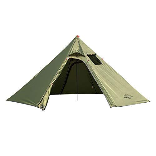 Tente de Camping Verte Militaire, Tente de Camping Tente Tipi Etanche 4 Saisons avec Trou de Cheminée et Tente Intérieure Tente Cheminée Pyramides pour Randonnées en Plein Air et Trekking
