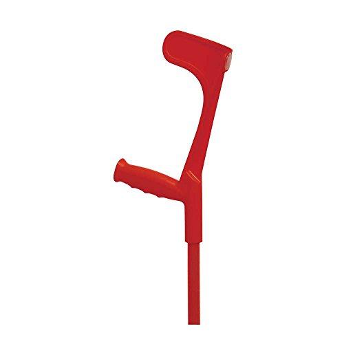1x Behrend Unterarmgehstütze Krücke Gehhilfe, höhenverstellbar, Aluminium, 135 kg, Kapsel, rot