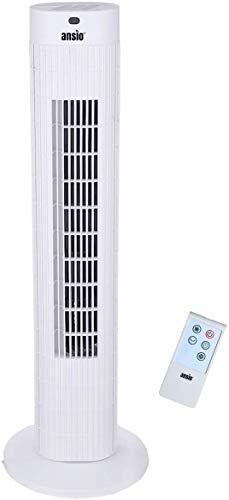 ANSIO Oszillierender Turmventilator mit Fernsteuerung- Säulenventilator - 75CM Standventilator - Ventilator - 3-stufigem Windmodus mit 3 Drehzahlen und langem Kabel(1,75m) Weiß -2 Jahre Garantie