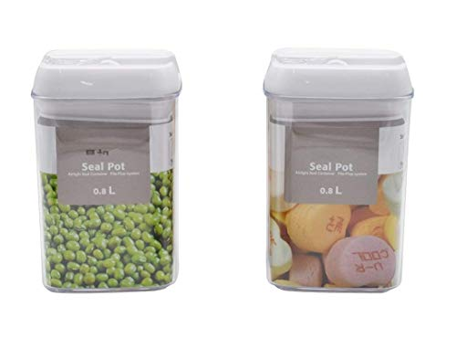 SAMPLUS MALL (LABEL) Plastic Air-Tight Food Storage Container with Easy Lock Lid (800 ml) - Pack of 2