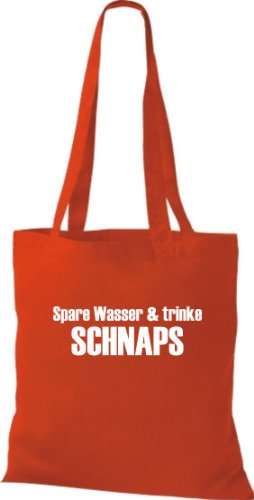 Stoffbeutel SPARE WASSER & TRINKE SCHNAPS Baumwolltasche, Beutel, Umhängetasche, Farbe rot