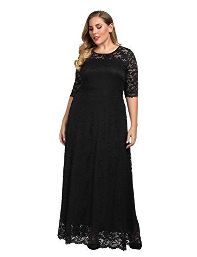 Chicwe Mujeres Tallas Grandes Elástico Forrado Maxi Vestido con Encaje Festoneado - Vestido de Noche Boda Ceremonia Fiesta Cóctel ((Busto=51-55 Inch) 3X, Negro)