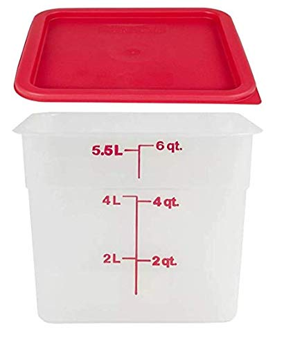 Cambro 6SFSPP190 Translucent Food Container with Lid, 6-Quart