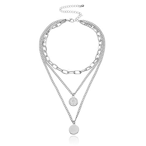 CNZXCO 2Pcs Joker Chain, Choker Collar, Geometric Round Explanation Necklace, Fashion Jewelry Necklace, Exaggerated Multi-layer Thick Chain Gothic Necklace Women (Color : Silver)