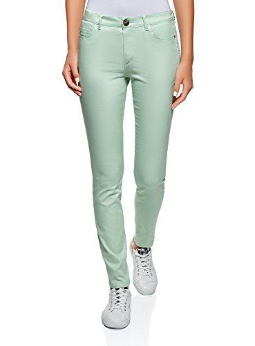 oodji Ultra Damen Jeans Slim-Fit Basic, Grün, 27W / 30L