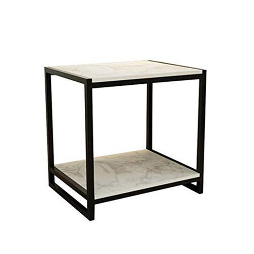 A-Yan-Q-Muebles de oficina Dormitorio Mesita de luz, mármol artificial Finalizar Sofá Tabla de doble capa Hoteles tabla de almacenamiento grande recepción Sala de recepción Mesas de pedestal