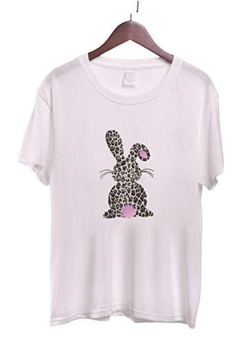 FOBEXISS Camisetas de mujer con estampado de leopardo, blusa de conejo de Pascua, camiseta casual suelta de manga corta