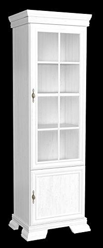 Furniture24 Vitrine Kora KRW1 Standvitrine Wohnzimmerschrank Vitrinenschrank mit 2 Türen (Andersen Kiefer)