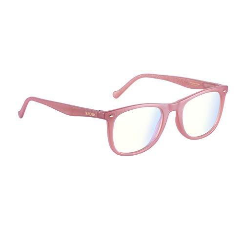 BLUE BAY CHELUS, Gafas para Mujeres, Protección contra la Luz Azul del Ordenador, Gafas Sostenibles para Pantallas, Material Reciclado, Ligeras y Flexibles, Montura Rosa Mate, 28 gramos