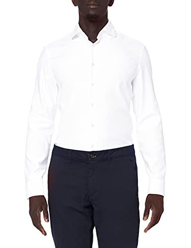 Seidensticker Herren Slim Fit Langarm mit Spread Kent-Kragen Bügelleicht Struktur-100 Prozent Baumwolle Businesshemd, Weiß (Weiß 1), (Herstellergröße: 41)