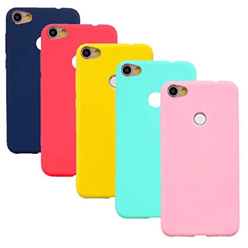 HereMore 5 x Funda para Xiaomi Redmi Note 5A/Note 5A Prime, Carcasa Protectora Mate en Silicona Gel Ultra Delgado Antigolpes Cubierta de Protección [Rojo,Azul Oscuro,Rosa Oscuro,Verde,Amarillo]