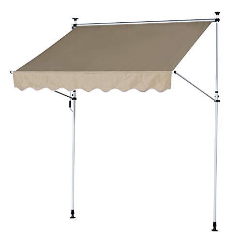 Outsunny Tenda da Sole Avvolgibile Tenda da Sole con Pali di Supporto per Esterno Poliestere, Alluminio Beige