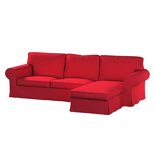 Dekoria Ektorp 2-Sitzer Sofabezug mit Recamiere Sofahusse passend für IKEA Modell Ektorp rot