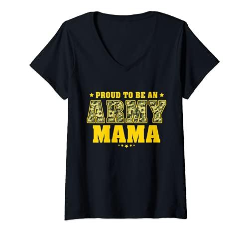 Mujer Orgullosa de ser una madre del ejército - Camo Pride Militar Madre Camiseta Cuello V