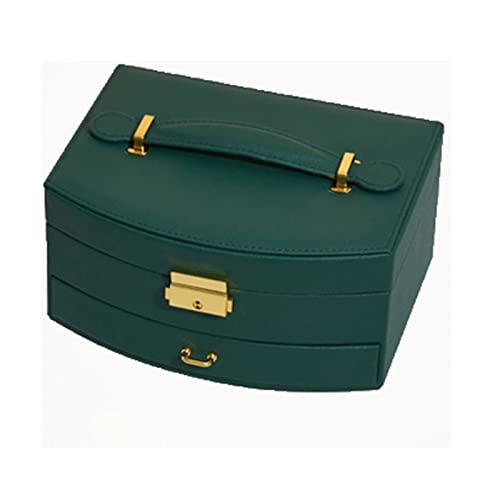 RunjinXinghe Caja de almacenamiento de joyería de doble capa con cerradura de cuero PU pendientes anillo joyería caja de almacenamiento caja de joyería caja de joyería caja de almacenamiento caja de almacenamiento señoras señoras bandeja extraíble
