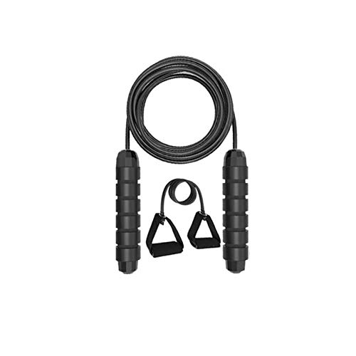 SDFDS Yoga Fitness Adjustable Springseil Indoor, mit Kugellager Eildrehzahl Jump Gewicht Jump Rope Rope + Yoga Spanngurt 114 (Color : Black)