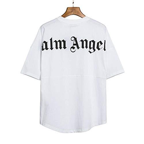 Herren- und Damen-T-Shirts, lässige Kurzarm-Rundärmel von Palm Angel, Sommeroberteile, Kurze Ärmel aus Baumwolle, Hemden mit kreativen Buchstaben, T-Shirt-Oberteile (Weiß, XL) (Weiß, L)