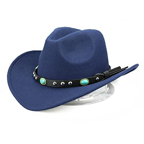 YHFJB Sombrero de vaquera con forro de fieltro central para fiesta de cumpleaños, Navidad, Halloween, azul marino