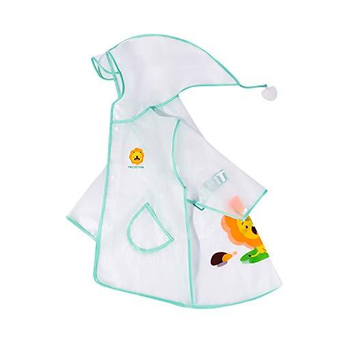 Kinder Jungen Mädchen Kapuzen Regen Ponchos wasserdichte Windjacke Regenmantel Regenbekleidung - Transparent PVC Regenjacke mit Reflektorenbänder - Cool Kids