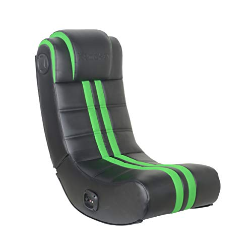 X Rocker, 5109101, SE+ 2.0 Bluetooth Foldable Rocking Video Gaming Chair with 2 Speakers, 30.91 x 16.34 x 29.13, Green and Black