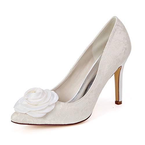 QXue Zapatos de Boda Mujer Tacón Alto Zapatos de Novia Ballet con para Boda, Fiestas, Novias, Damas de Honor,Marfil,37 EU