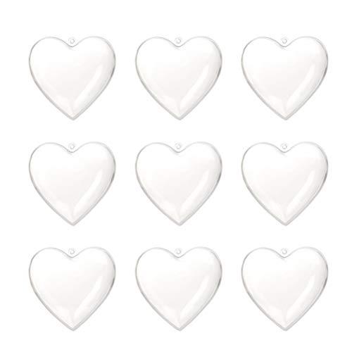 Amosfun Acrylformen Kunststoff Füllbar Teilbar Deko Herz Hänger Bastelkugel mit Aufhängeöse Hochzeit Valentinstag Hängende Dekoration 6cm 10 Stück (Transparent)