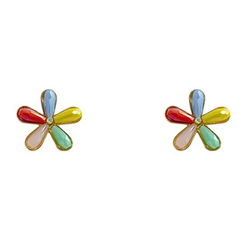 GLJYG Pendientes de 5 colores con diseño de flores, creativos, elegantes, frescos, dulces, para mujeres, niñas, fiestas, uso diario