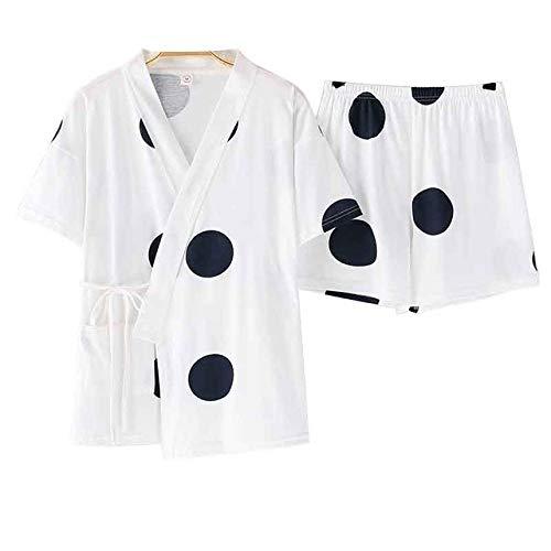 JFCDB Nachthemd Zomer hete verkoop pyjama set voor v-hals korte mouw nachtkleding katoen kawaii vrouwen nachtjapon cartoon kleur dot ondergoed, 02, xl