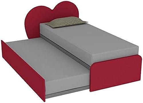 MOBILFINO CAMERETTE M lStück für Schlafzimmer mit Herzen, mit herausnehmbarem Bett und abnehmbarem Bett, für Doppelbett mit Netz und personalisierbarem Kopfteil