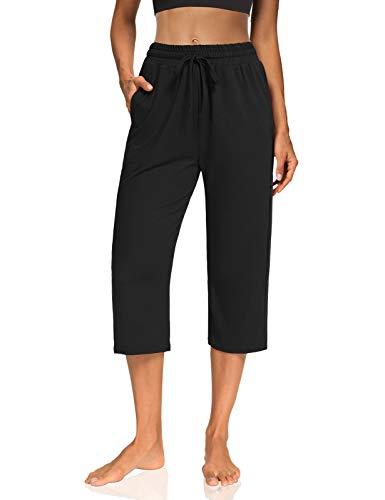 KEEPBEAUTY Womens Capri Yoga Pants Wide Leg Drawstring Loose Comfy Lounge Pajamas Capris Sweats with Pockets Black XL