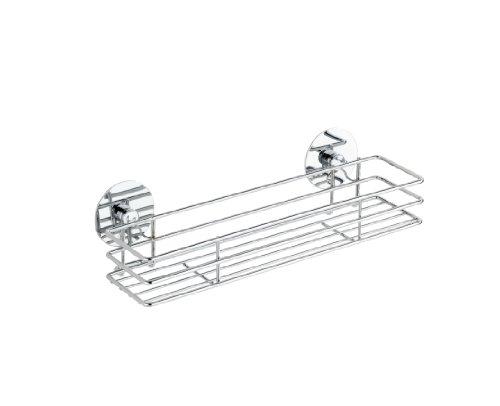 WENKO Turbo-Loc® Gewürzbord - Befestigen ohne bohren, verchromtes Metall, 30 x 9 x 8 cm, Silber glänzend