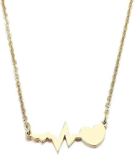 banbeitaotao Collar Collar de Acero Inoxidable Amor Electrocardiograma Colgante Collar Joyería de Compromiso Tamaño 45Cm Regalo