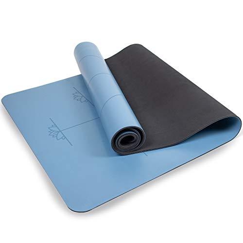 Myga RY1182 - Tappetino da Yoga Extra Large con Linee di Allineamento, Impugnatura Superiore Antiscivolo, con Imbottitura ad Alta Densità, Blu