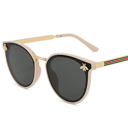 HAOMAO Gafas de Sol de Lujo con diseño de Abeja para Mujer, diseño de Marca Cuadrada, Gafas de Sol Retro, Beige