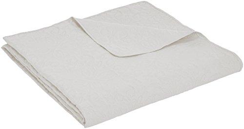 Amazon Basics - Bettüberwurf mit Prägemuster, extra-groß, Weiß, Blumen, 170 x 210 cm