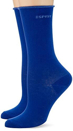 ESPRIT Damen Socken Basic Pure 2-Pack, Baumwolle, 2er Pack, Blau (Deep Blue 6046), 39-42 (UK 5.5-8 Ι US 8-10.5)
