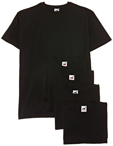 Fruit of the Loom - Maglietta a Maniche Corte da Uomo, Colore Nero (Black), Taglia XXL, Confezione da 5