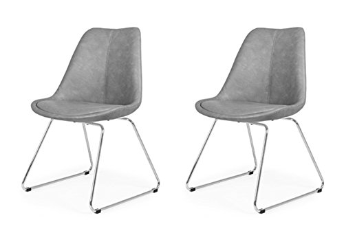 Tenzo 3233-263 Designer Lot de 2 chaises, Gris, Coque en polypropylène garnie de mousse, recouverte de polyuréthane look vintage. Pieds en acier chromé, 83,5 x 48,5 x 51 cm (HxLxP)