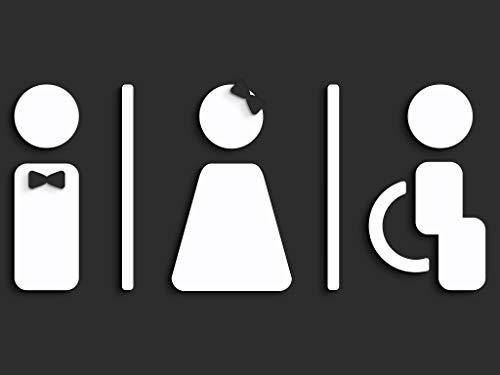 3DP Signs - reliëf toilet design deurplaat SA120 wc borden zelfklevend - Modern dames wc sticker badkamer bord voor deuren - man vrouw en rolstoelbestuurder gehandicapt toiletbord (zwart)