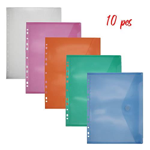 Sinoest 10tlg Dokumententasche A4 Sichttasche zum Abheften mit Klettverschluss und Eurolochung Brief-Taschen aus PP farbig sortiert