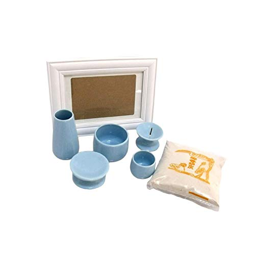 仏具 7点セット 香炉 香炉灰 ローソク立て 花瓶 湯呑 供物台 写真立てつき ブルー