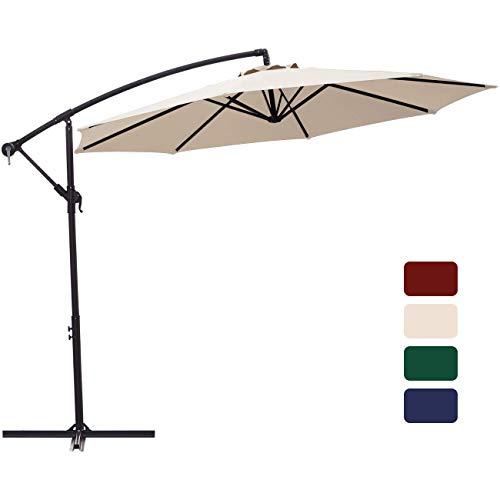 Patio Umbrella 10 ft Cantilever Offset Umbrella Outdoor Market Hanging Umbrellas Garden Umbrella & Crank with Cross Base, 8 Ribs (10 ft, Beige)