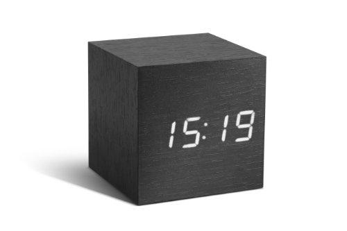 Gingko GK08W10 Würfel-Digitaluhr 'Click Clock' Schwarz mit weißer LED-Anzeige