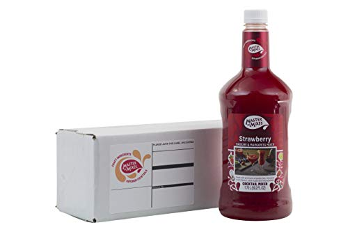 Master of Mixes Strawberry Daiquiri / Margarita Drink Mix, Ready To Use, 1.75 Liter Bottle (59.2 Fl Oz), Individually Boxed