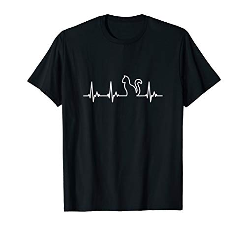 Herzschlag TShirt Katze EKG Shirt Katzen T-Shirt Kater T-Shirt