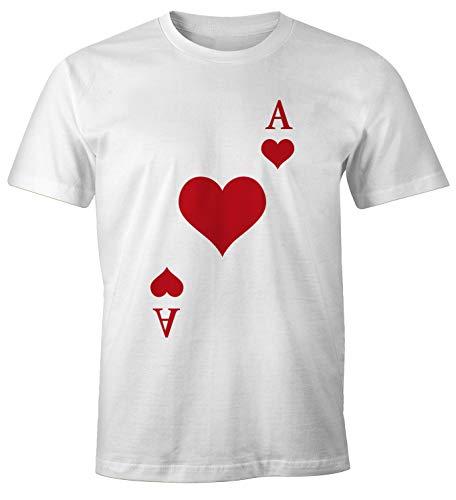 MoonWorks® – Camiseta para Hombre, Juego de Cartas, Disfraz, Tarjetas de Juego, Disfraz de Grupo, Tarjetas, Carnaval, Camiseta de Carnaval Tarjetas de corazón Ass de Color Blanco. M