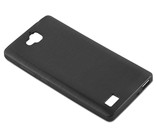 Cadorabo Hülle für Honor 3C - Hülle in SCHWARZ – Handyhülle aus TPU Silikon in gebürsteter Edelstahloptik (Brushed) Silikonhülle Schutzhülle Soft Back Cover Case Bumper - 4