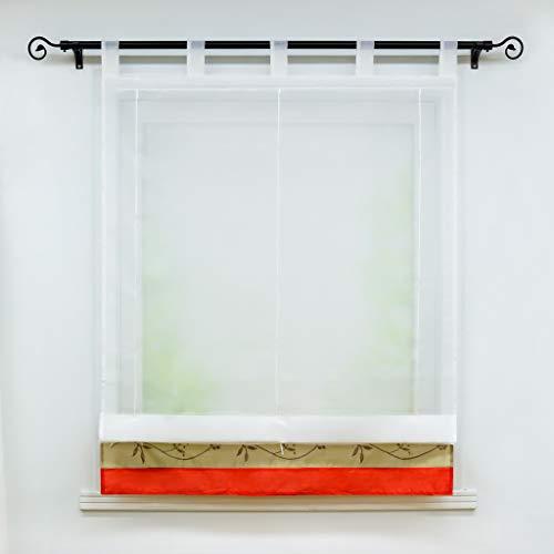 Heichkell Voile Raffrollo Transparente Bändchenrollos Gardine mit Schlaufen Satinband mit Stickereien 1 Stück Scheibengardine BxH 140x155cm Rot